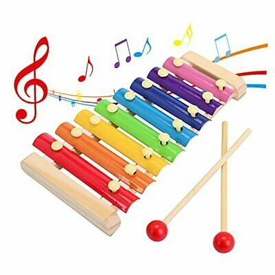 Wooden Xylophone Childrens Musical Instruments Toy Wooden 8 Keys Hand Knock
