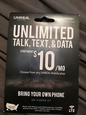 Unreal Mobile 4G LTE SIM card - iPhone SE X XS XS Max XR - READ INSIDE - NO PLAN