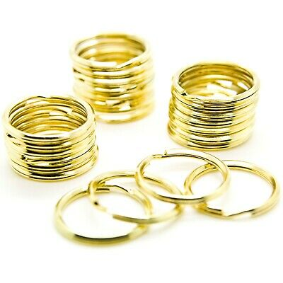 WHOLESALE LOT 50 KEY RINGS 24mm 1 Split Ring GOLD