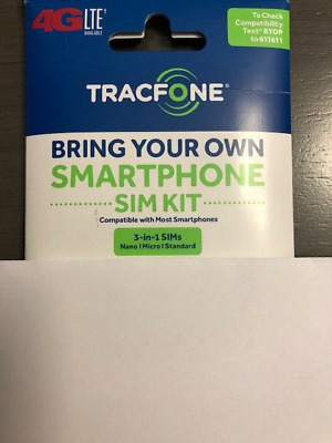 TRACFONE 4G LTE SIM CARD USING THE AT-T NETWORK 3IN1 SIM CARD ONE SIZE FITS ALL-