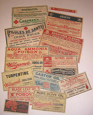 Set of 13 POISON VINTAGE LOOK APOTHECARY LABELS Halloween  Primitive
