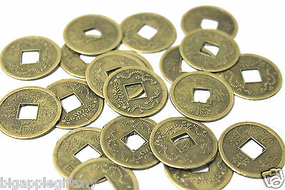 Lot of 50 x LUCKY DOUBLE DRAGON  FENG SHUI COIN for GOOD LUCK  PROTECTION 2-5CM