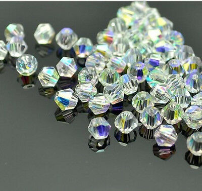 500pcs clear ab exquisite Glass Crystal 4mm 5301 Bicone Beads loose beads