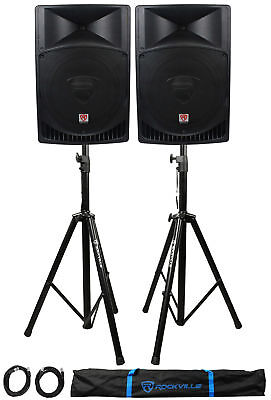 Pair Rockville RPG15 15 2000w Powered PADJ Speakers - 2 Stands - 2 Cables-Bag