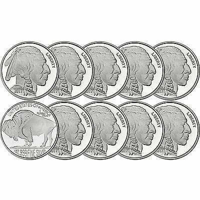 2017 American Buffalo 1oz -999 Fine Silver Round by SilverTowne LOT OF 10