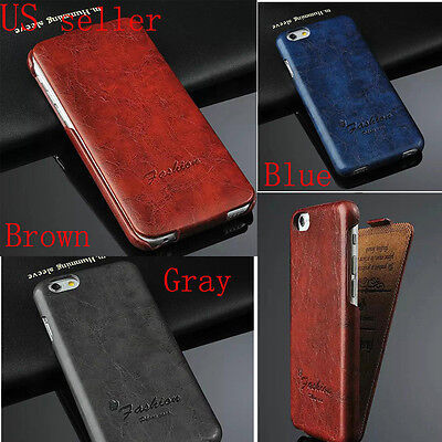 Luxury Oil Wax Vertical Flip PU Leather Case Skin Cover For Apple 4-7 iPhone 6