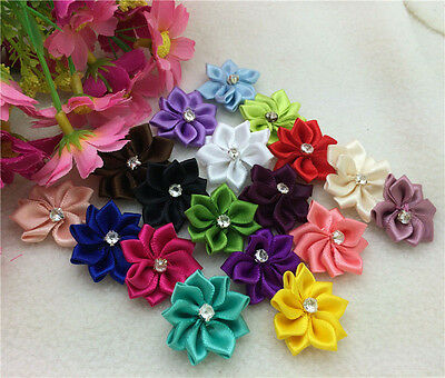 FREE SHIPPING 50pcs Satin Ribbon mix Flower with Crystal Bead Appliques3