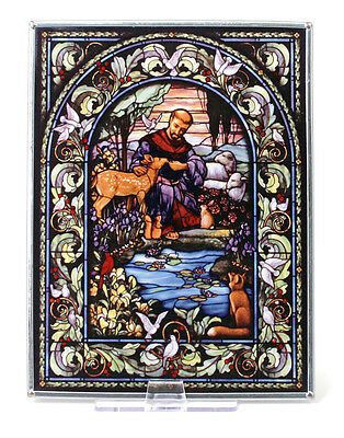 CHRISTIAN GIFT-New Glassmasters ST- FRANCIS OF ASSISI Stained Glass 9 X 7