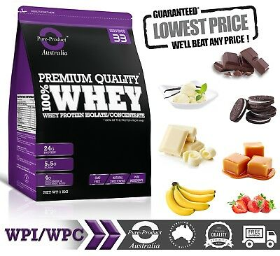 1KG  - WHEY PROTEIN ISOLATE  CONCENTRATE  -  WPI WPC  POWDER- Choose Flavour