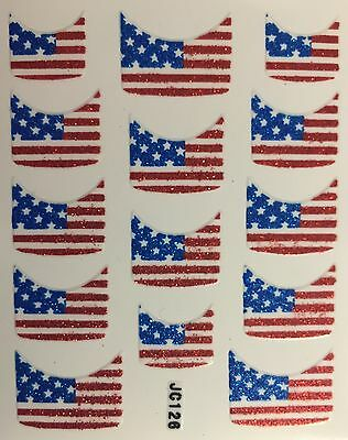 Nail Art 3D Decal Stickers American Flag Nail Tip 4th Fourth of July JC126