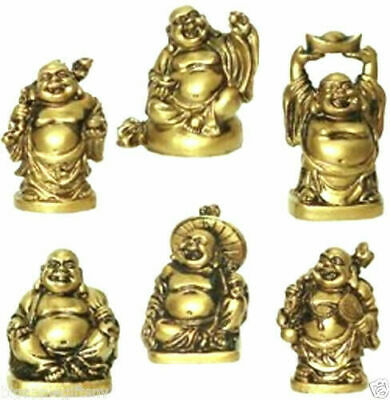 Set of 6 BRONZE Feng Shui Laughing HAPPY Buddha Figures - Statue Luck 2