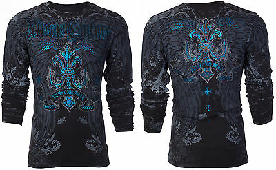 Xtreme Couture AFFLICTION Mens THERMAL T-Shirt SANDSTONE Wings Biker MMA UFC 58