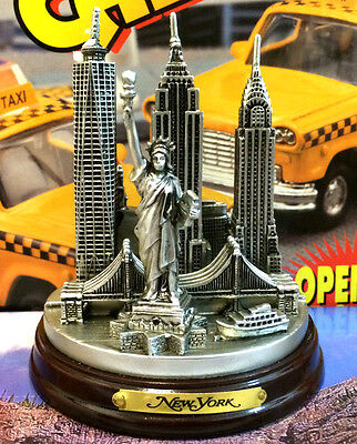 SILVER PEWTER New York City Skyline 3-D Model 4 12 High New York Souvenirs NYC
