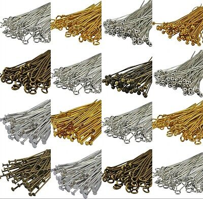 100pcs SilverGold Plated Ball Head Eye Pins Jewelry Finding 203040506070mm