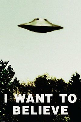 X-FILES - I WANT TO BELIEVE - UFO POSTER 24x36 - ALIENS SPACESHIP 9855