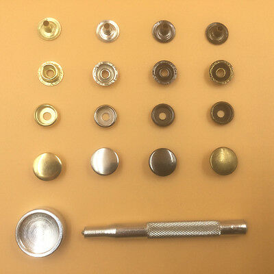 15mm 58 sets Button Snap Leather craft Rapid Rivet Fasteners Tool 20 50 100