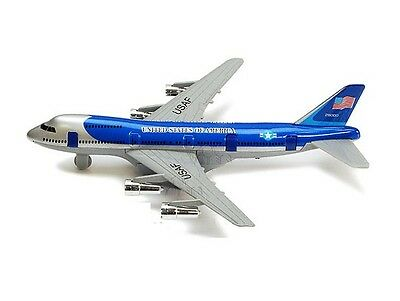 New 8 Diecast Toy passenger airplane jet 747 look alike plane blue PULL BACK