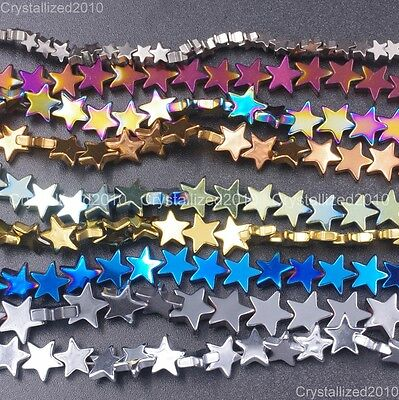 Natural Hematite Gemstone Flat Star Beads 6mm 8mm 10mm Black Silver Gold 16