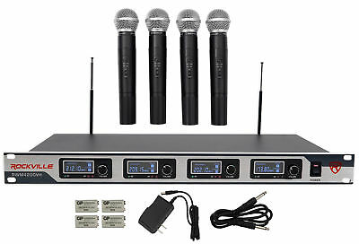 Rockville RWM4200VH VHF Wireless Quad HandHeld Microphone System w LCD Display