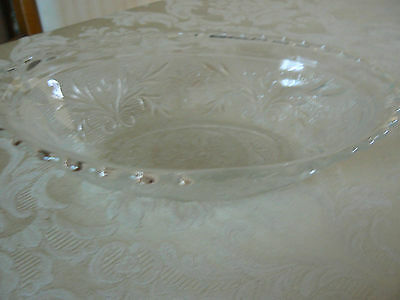 Unmarked EAPG Glass Oval Embossed Beads Floral Scalloped Edge Dish