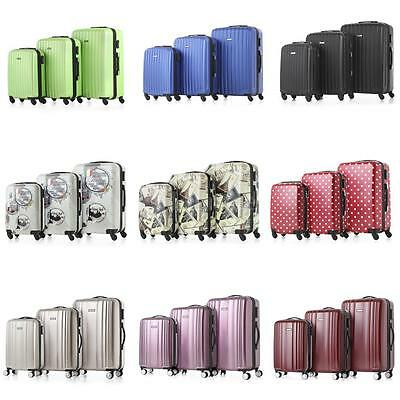 3pcs Luggage Set Carry-on Trolley Hard Shell Spinner Suitcase ABS Travel Bag 9J6