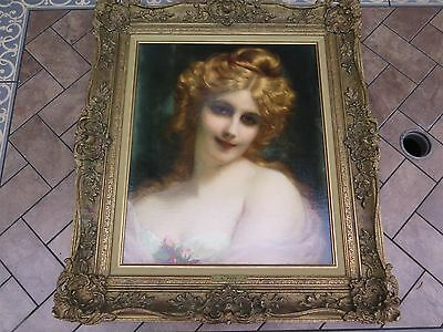 Coquette Adolphe Piot Original Signed Oil Canvas Antique Framed Art Painting A-