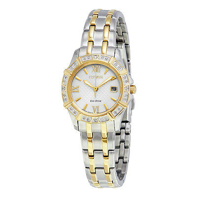 Citizen Eco-Drive Womens Diamond Accents Two Tone 26mm Watch EW2364-50A