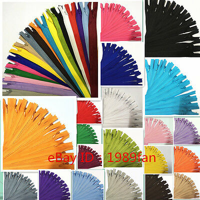 Colorful Nylon 3 Invisible Zippers 12-20 inch  Tailor  Sewing Craft 20Color