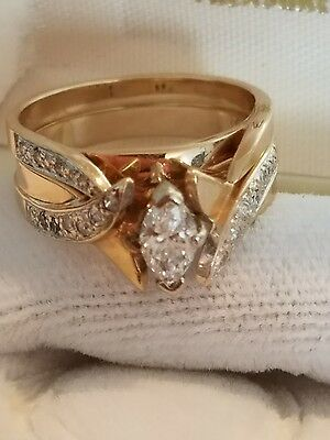 14K YELLOW GOLD DIAMOND MARQUISE ENGAGEMENT RING AND WEDDING BAND