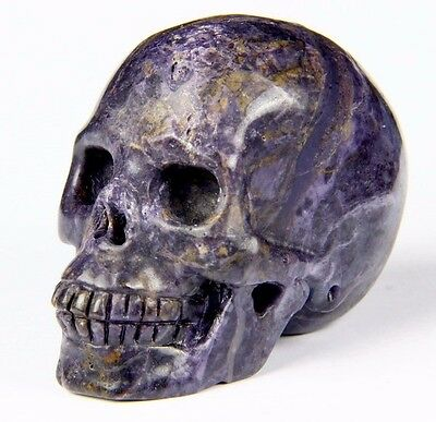 2-1 PUPLE AGATE Carved Crystal Skull Realistic Crystal Healing