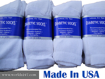 BEST QUALITY CREW DIABETIC SOCKS 61218 PAIR MADE IN USA SIZE 9-1110-13 -13-15