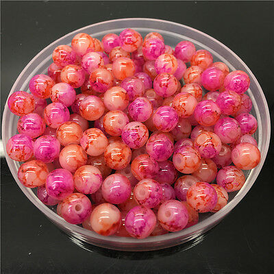 30Pcs 8mm Double Color Glass Pearl Round Spacer Loose Beads Jewelry Making 862
