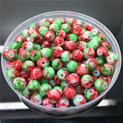 4mm 100Pcs Double Color Glass Pearl Round Spacer Loose Beads Jewelry Making Az23