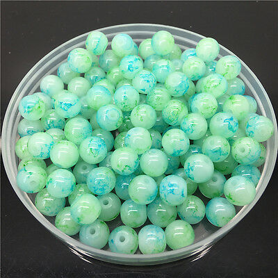 30Pcs 8mm Double Color Glass Pearl Round Spacer Loose Beads Jewelry Making 861