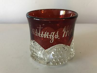 VINTAGE RUBY RED FLASH GLASS SOUVENIR GLASS HASTINGS MICH-