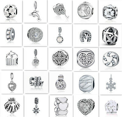 White European Silver CZ Charm Beads Fit sterling 925 Necklace Bracelet Chain