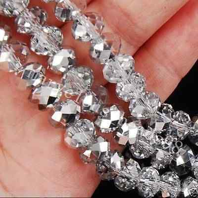 70PC Cheap wholesale Translucent silver crystal beads 6x8mm-Free Shippingq4
