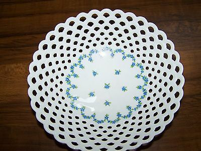 Signed Vintage Latticework Bowl with Hand Painted Medallion of of Blue Flowers