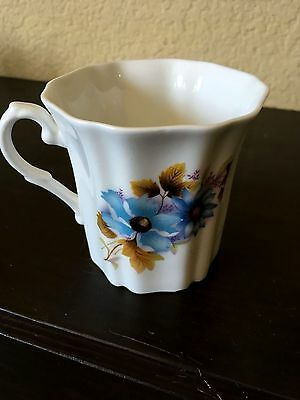 Royal Grafton Fine Bone China England Coffee Mug Cup Tea Floral Flower Blue