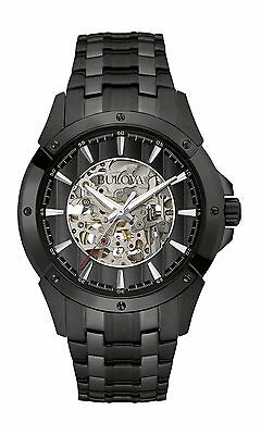 Bulova Mens 98A147 Automatic Skeleton Dial Black Bracelet 43mm Watch