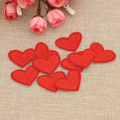 10 Pcs Red Heart Embroidery Iron On Patch Sewing Badge Bag Cloth Applique Decor