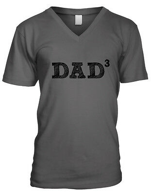 Dad 3 - Father of 3 Daddy Fathers Day Gift Family Mens V-neck T-shirt