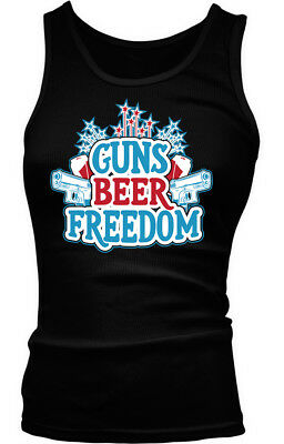 Guns Beer Freedom -4th of July Fireworks Red White - Blue Boy Beater Tank Top