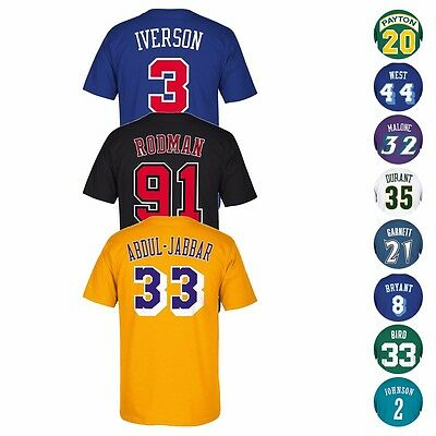 NBA Legends HOF Adidas Soul Swingman Player Name - Number Jersey T-Shirt Mens