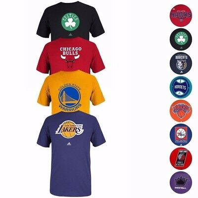 NBA Various Team Color Primary Logo Wordmark Graphic T-Shirt by Adidas Mens