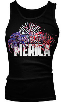 MERICA - Fireworks - Happy 4th of July America USA Boy Beater Tank Top