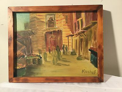 Kashef Signed Original Oil Painting Middle Eastern Theme 16x20 Wood Frame