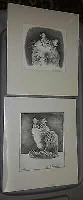 Lot of 2 Cat Print Pen Etching Ink Artist Frank S Packlick Signed Numbered Art