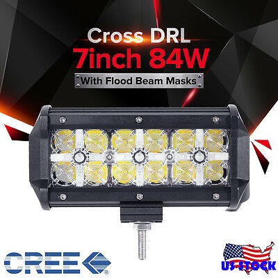 7inch 84W CREE LED Work Light Bar Spot Flood Offroad 4WD SUV Fog DRL UTE Lamp 6