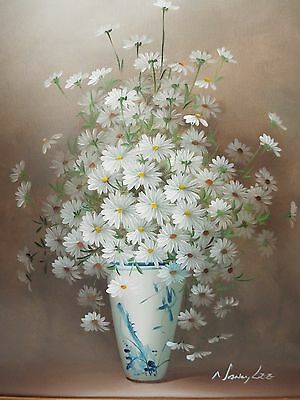 ORIGINAL OIL ON CANVAS DAISIES PAINTING SIGNED LISTED ARTIST NANCY LEE FRAMED